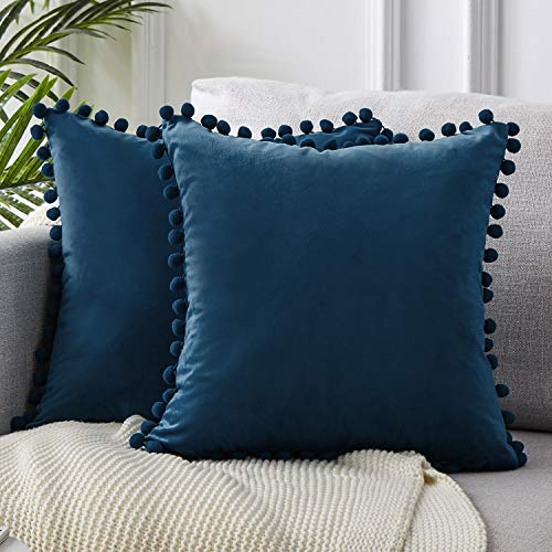Top Finel Decorative Throw Pillow Covers 26 x 26 Inch Soft Solid Velvet Cushion Covers for Couch Sofa Bed 65 x 65 cm, Pack of 2, Navy Blue ()