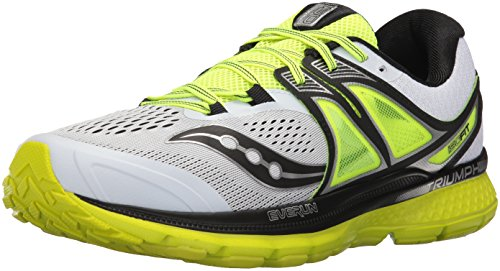 Saucony Men's Triumph Iso 3 Running Shoe, Green, Bianco (White/Black/Citron), 11.5 M (Bianca Footwear)