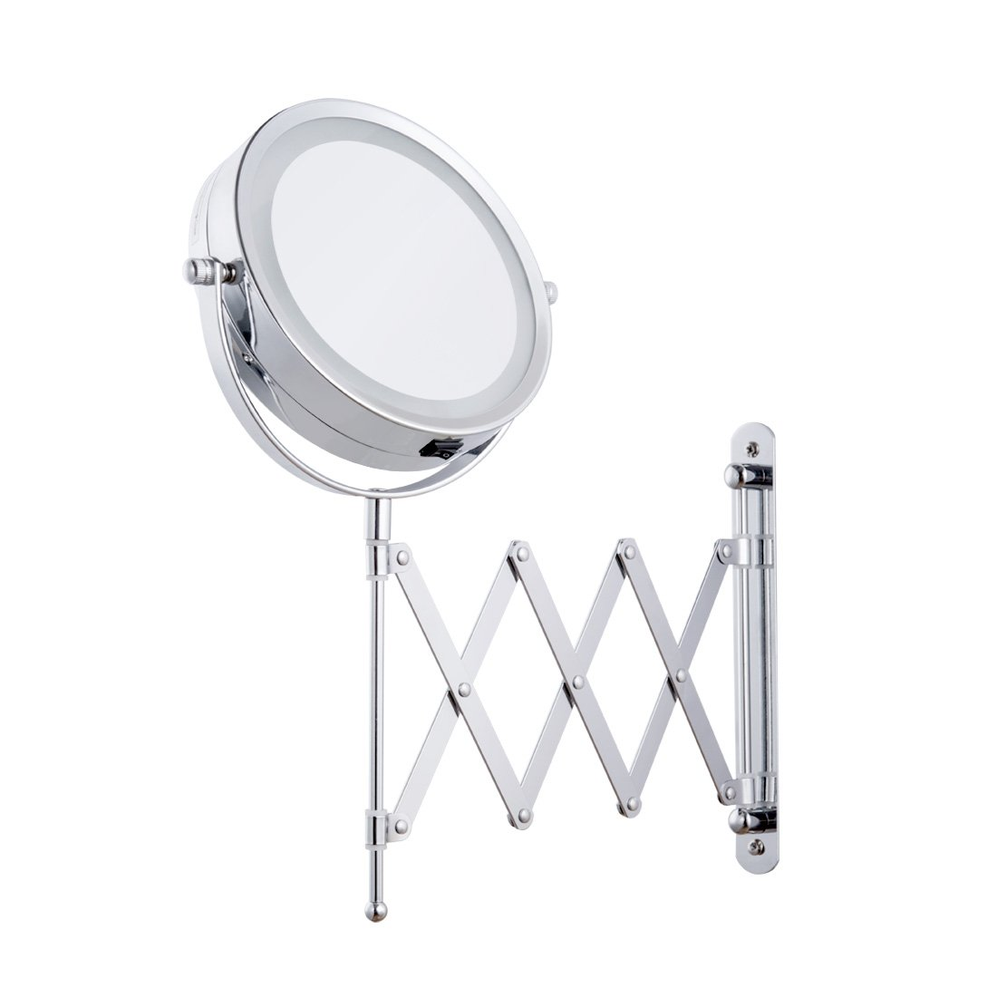 FIRMLOC Lighted Led Vanity Makeup Mirror 1X/5X Magnification Wall Mounted, Double Side, Adjustable Rotating Function, Lighting Powered by 4 x AAA Batteries (Not Included) by FIRMLOC