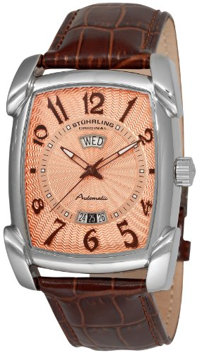 Stuhrling Original Men's 98XL.3315K14 Classic Metropolis Madison Avenue Automatic Day And Date Brown Leather Strap Watch, Watch Central