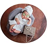 Coberllus Newborn Monthly Baby Photo Props Bathrobes with Towel Sets for Boys Girls Photography (White)