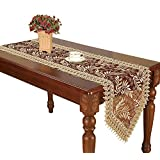 Burgundy Lace Table Runners And Dresser Scarves Embroidered Leaves (16 * 120 inch)
