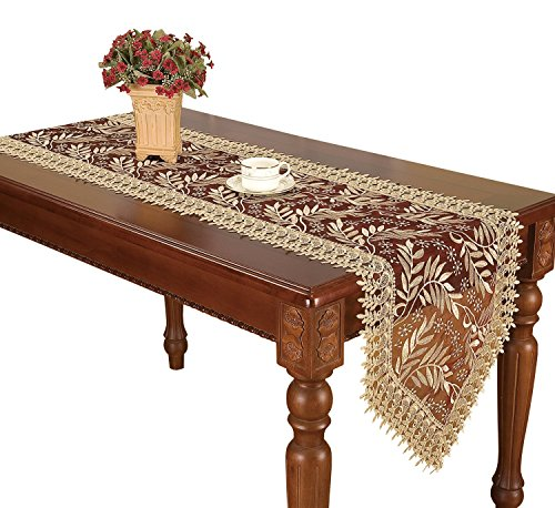 Simhomsen Burgundy Lace Table Runner and Dresser Scarves Embroidered Leaves 16 × 60 Inch