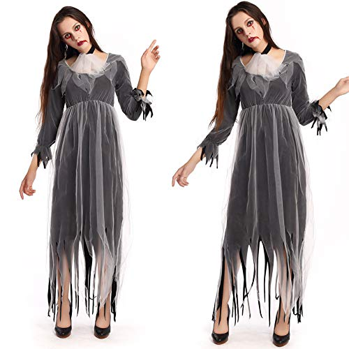 Simmia Halloween Costumes Halloween Horror Bloody Zombie Vampire Ghost Bride Cosplay Nightclub Theme Party Masquerade, Gray, XL]()