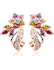 Rose Gold Plated Flower Design Multicolor Cubic Zirconia Stud Earrings for Women Girls Fashion Jewelry