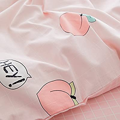 LELVA Kids Queen Bedding Sets Pink Peaches Print Duvet Cover Set with Pillowcases for Teen Girls 100% Cotton Reversible: Home & Kitchen