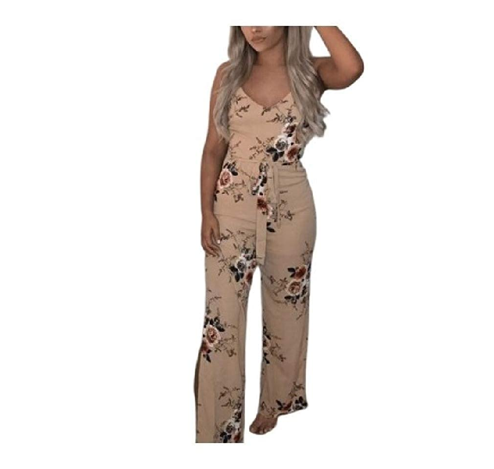 Tralounry Womens Floral Print Spaghetti Straps Slit Belted Long Jumpsuit