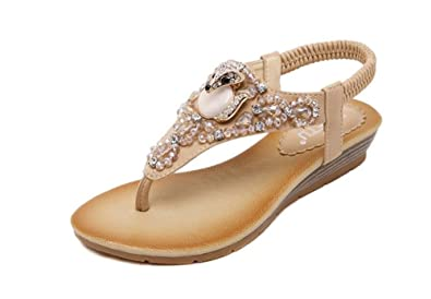 91148c8fed54 Women T-Strap Rhinestone Beaded Gladiator Flat Sandals Summer Beach Sandal(Beige35 4.5.  Roll over image to zoom in