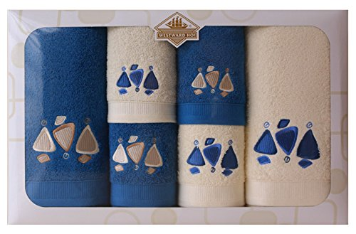 Westward Ho! Earth Embroidery Box Towel, Cream/Royal by Westward Ho!