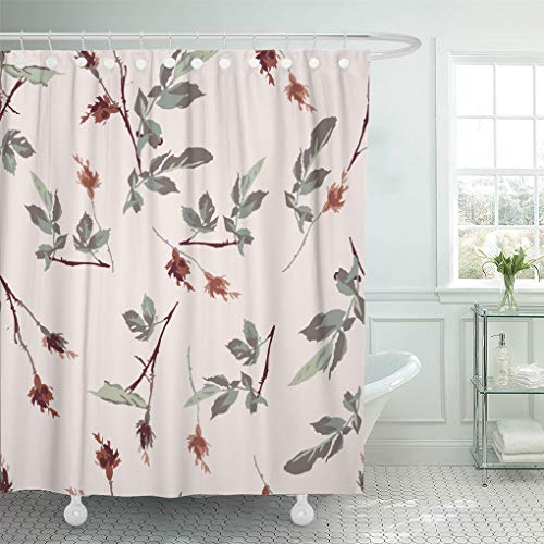 (Semtomn Shower Curtain Waterproof Polyester Fabric 72 x 78 inches Romantic Leafy Rosebud Seamless Repeat Tile Background Pattern Wallpaper Design with Set with Hooks Decorative Bathroom Curtains)