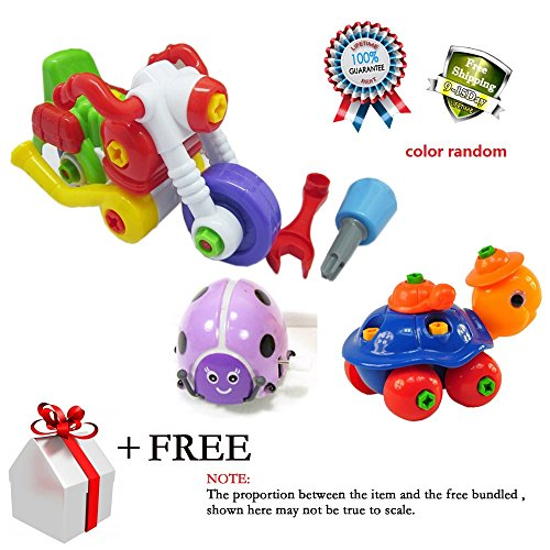Baby Plastic Motocycle Assemble Disassemble Toy Removable Animals Toys Giraffe Bunny Turtle Snail Colors Running Circling Somersaults Chain Wind up Clockwork Beetle Gift Various Color