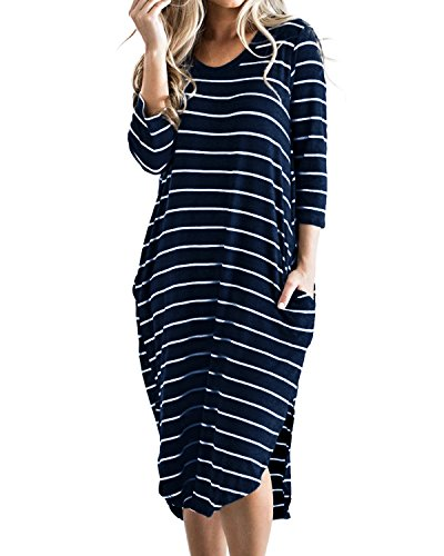 Cnfio Women's Short Sleeve Stripes T Shirt Dress Oversized Boho Long Dresses with Pockets Blue L