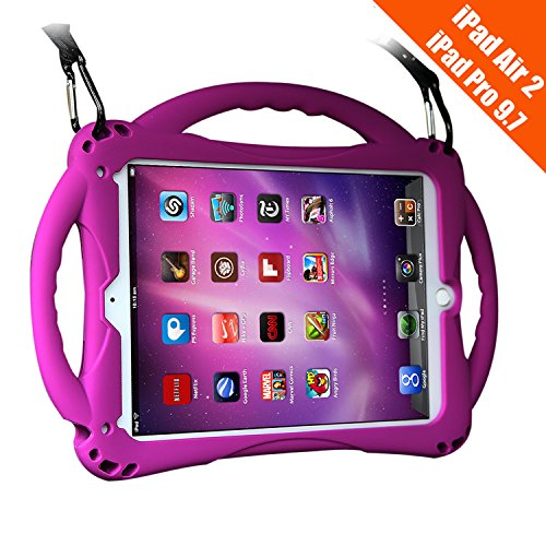 TopEsct iPad Air 2 Case for Kids, Shockproof Silicone Handle Stand Case Cover&(Tempered Glass Screen Protector) for iPad Air 2 and iPad Pro 9.7 (Purple)