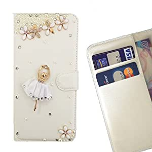 - Girl Dance Flower/ Slot Card Flip Case Cover Skin Bling Rhinestone Crystal Leather - Cao - For Sony Xperia Z L36H