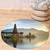 Kisscase Custom carpetBalinese Decor Pura Ulun Danu Temple Panorama at Sunrise on A Lake Bratan Bali Indonesia Waterscape Bedroom Living Room Dorm Decor Brown Beige