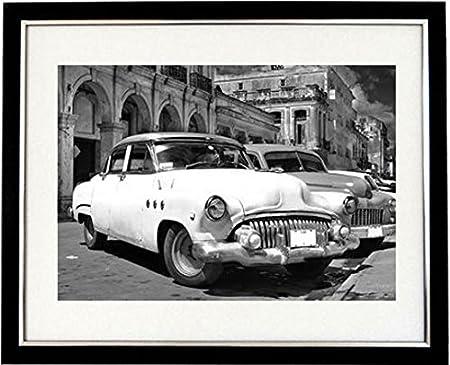 Havana black and white framed print of a classic 1950s car in havana