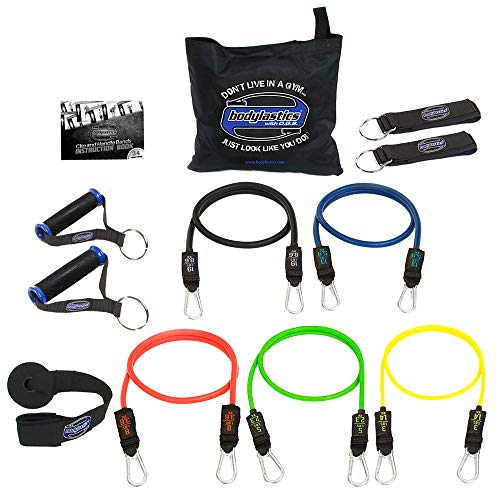 - Bodylastics Stackable (12 Pcs) MAX Tension Resistance Bands Sets. This Leading Exercise Band System Includes 5 of Our Anti-Snap Exercise Tubes, Heavy Duty Components, and a Travel Bag.