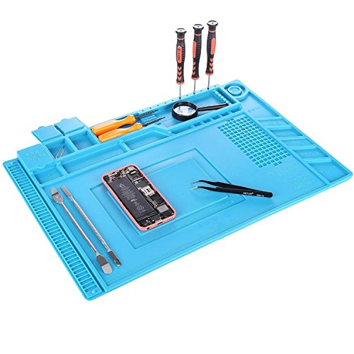 Soldering Mat, YUMQUA Magnetic Project Mat (11 x 17 inch) Heat Resistant Silicone Pad Insulation Solder Mat Welding Repair Tools Kit for Soldering Iron Station, Watch,Phone and Computer Repair
