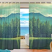 INGBAGS Bedroom Decor Living Room Decorations Sky Forest Tree Lake Water Pattern Print Tulle Polyester Door Window Gauze / Sheer Curtain Drape Two Panels Set 55x78 inch ,Set of 2