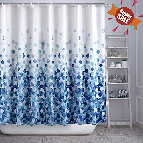 ARICHOMY Shower Curtain Set Bathroom Fabric Curtains Bath Waterproof Colorful Funny with Standard Size 72 by 72 (BlueCloud) (Best Shower Curtain Material)