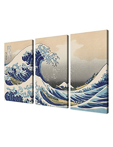 DECORARTS The Great Wave off Kanagawa(Triptych), Katsushika Hoki. Classic Art Reproduction, Giclee Print On Canvas. Stretched canvas. 48x32 (Triptych Canvas Prints)