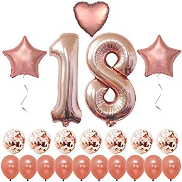 Rose Gold 18 Birthday Decorations Large Pack Of 19