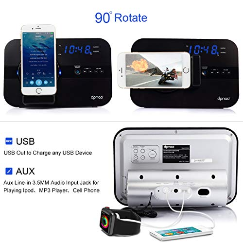 dpnao Alarm Clock FM Radio Speaker with iPhone Charger Stand Docking Station USB Charge Port AUX Remote Apple MFi Certified (Not Wireless Charging)
