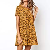 Womens Summer Boho Dot Print Short Sleeve Loose Ruffles Casual Short Mini Dress Winter-to-Spring Dresses (Yellow, M)