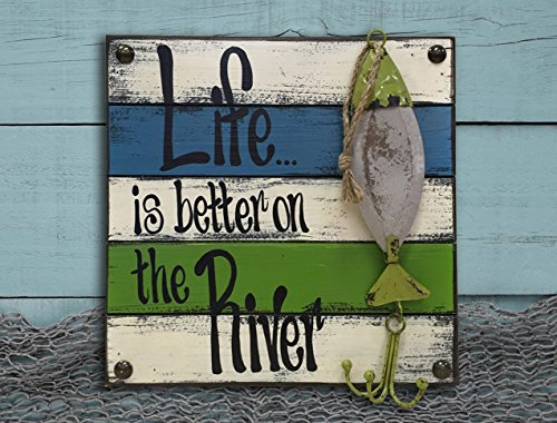 RIVER FISH Sign Reclaimed Pallet Wall Style Home Decor Sign - LIFE IS BETTER ON THE RIVER -Blue Aqua Teal White Green Coral Orange Yellow