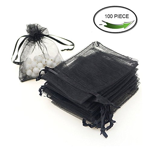 Reatos Set of 100 Drawstring Organza Pouch Gift Candy Bags, 4' by 6'(Black)