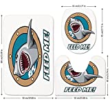 3 Piece Bathroom Mat Set,Sea Animal Decor,Funny Vintage Quote with Hungry Hound Shark Head in Ship Window Humor Print,Multi,Bath Mat,Bathroom Carpet Rug,Non-Slip