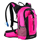 Insulated Hydration Backpack Pack with 2.5L BPA FREE Bladder, Lightweight Daypack Water Backpack For Hiking Running Cycling Camping, School Commuter, Fits Men, Women, Kids, 18L Pink