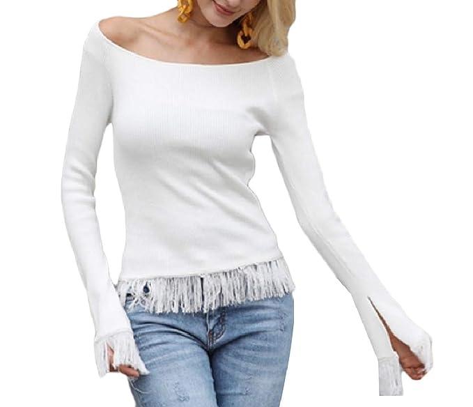 9dc72a0db7c8 Abetteric Women T-Shirt Slimming Macrame Curvy Off Shoulder Sweatshirt White  L