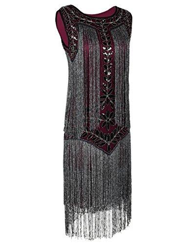 Gatsby Kayamiya Flapper Borgoña De Lentejuelas Vestido Borla 1920s Mujeres nqtRrw0UFq