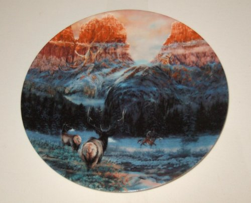 """The Bradford Exchange: Sixth Issue in THE FACES OF NATURE Collection """"WINTERING WITH THE WAPITI"""" by Julie Kramer Cole and Issued on W.S. George Fine China - Limited Edition Decorative Plate Native American Design"""