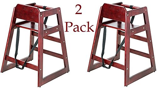 Lancaster Mahogany Finish Stacking Restaurant Wood High Chair 2 PACK solid wood stacking stackable