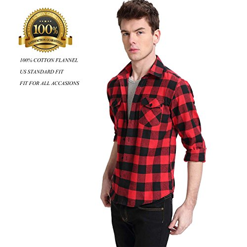 Red Plaid Flannel Shirt - MCEDAR Men's Plaid Flannel Shirts-Long Sleeve Casual Button Down Slim Fit Outfit for Camp Hanging Out or Work (M, RED)