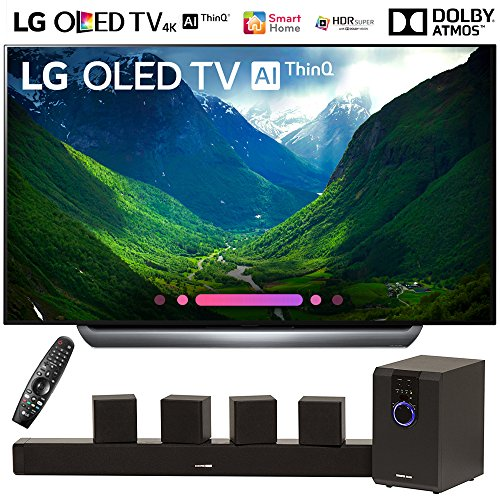 LG OLED65C8PUA 65″-Class C8 OLED 4K HDR AI Smart TV (2018 Model) with Sharper Image 5.1 Home Theater System w/Subwoofer, Sound Bar & Satellite Speakers