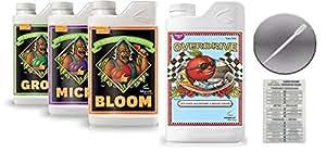 Avanzado nutrientes PH perfecto Bloom crecer Micro 1litro y Overdrive con tabla de conversión y 3ML Pipeta
