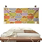 Jinguizi Nursery Horizontal Tapestry Toys and Animals in a Checkered Background Teddy Bears Sheep Cats Duck Toys Decorative Tapestry 91W x 60L InchTan Multicolor