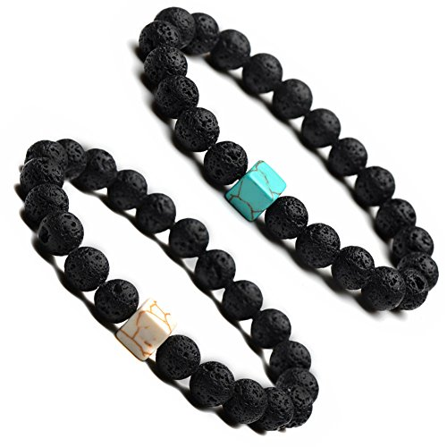 Comfybuy CF 2Pcs Mens Womens Natural Stone Lava Stone Diffuser Bracelet Essential Oil Turquoise Distance Friendship Couple Link Bracelet - Prince Keepsake