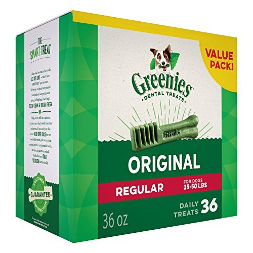 GREENIES Dental Dog Treats, Regular, Original Flavor, 36 Treats, 36 oz.