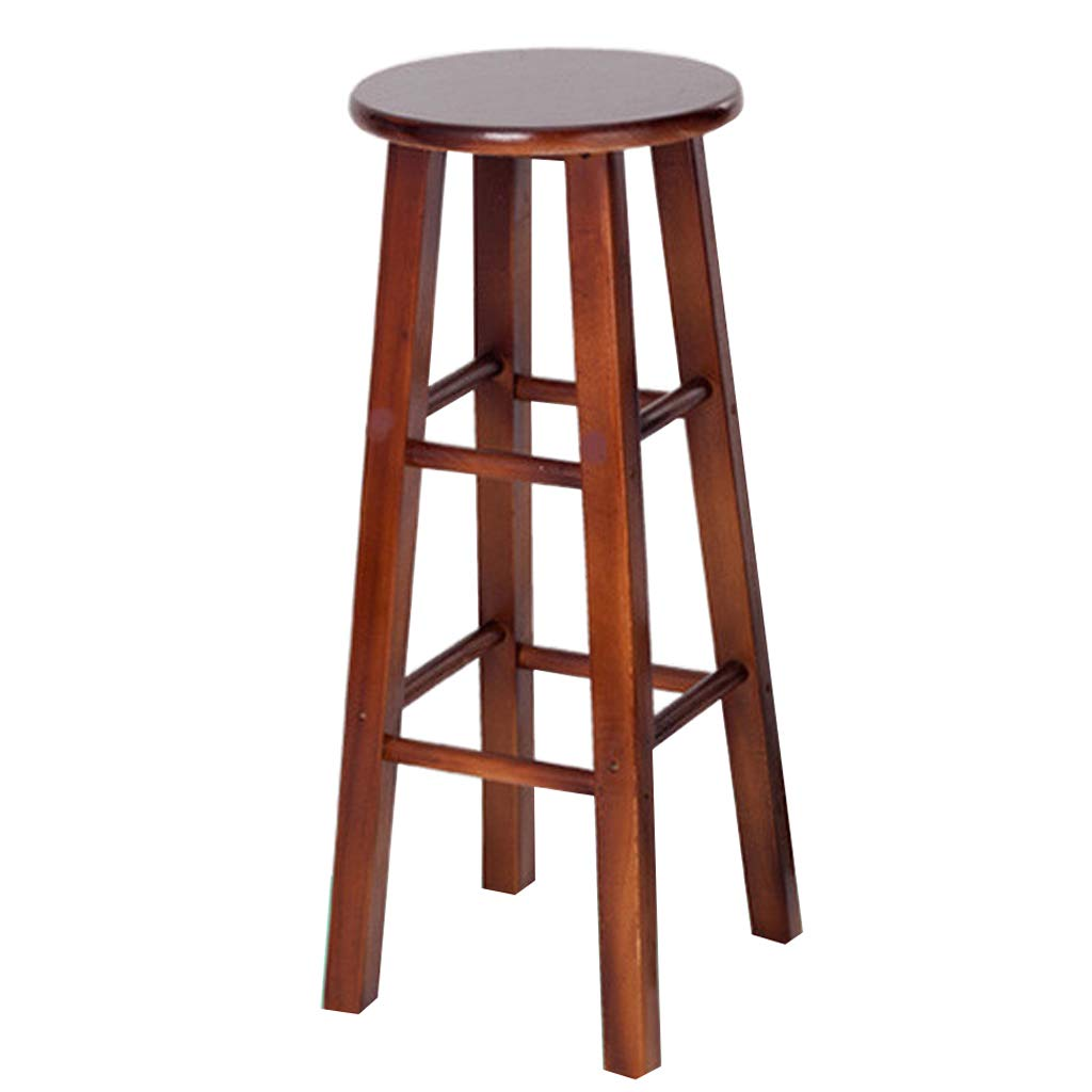 Walnut color Bar Stool High Stool Family Breakfast Bar Stool Wooden Kitchen Seat (Sitting Height  60CM) Dining Chair (color   Walnut color)