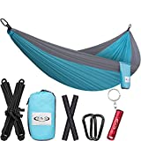 ToTheTop Lightweight Camping Hammock for Outdoor, Hiking, Backpacking, Yard and Beach, Compact, Double size, Portable and Breathable Parachute Nylon Hammocks Gear