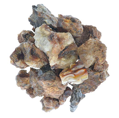(Digging Dolls: 1 lb of Fire Agate Rough Stones from Mexico - Mine Run Raw Rocks Perfect for Lapidary, Tumbling, Polishing and Crafts!)