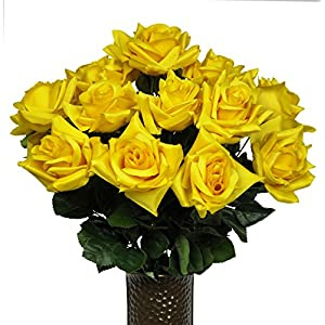 Yellow Diamond Rose Artificial Bouquet, featuring the Stay-In-The-Vase Design(c) Flower Holder (MD1341) 33