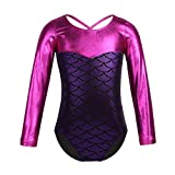 inlzdz Kids Girls Ballet Dance Gymnastic Leotard Long Sleeves Glittery Scales Printed Splice Criss Cross Back Unitard Purple 7-8