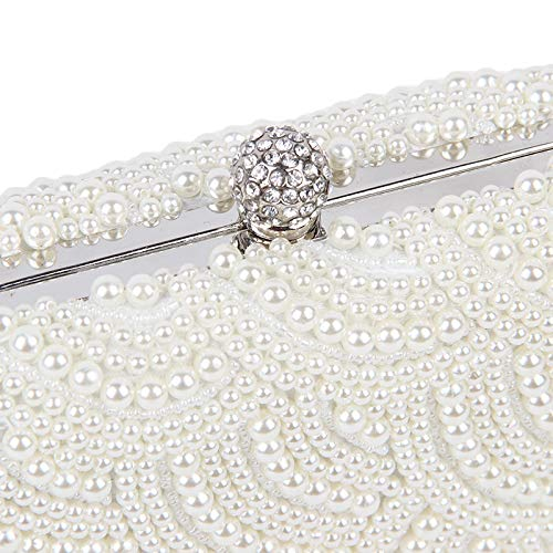 Party Banquet Pearls White Beading Purse Party Handmade Rhinestones KLLXEB Bag 3 Clutch Beaded Wedding Pearl Two Bag Evening Sided Bags xFnwqnS68