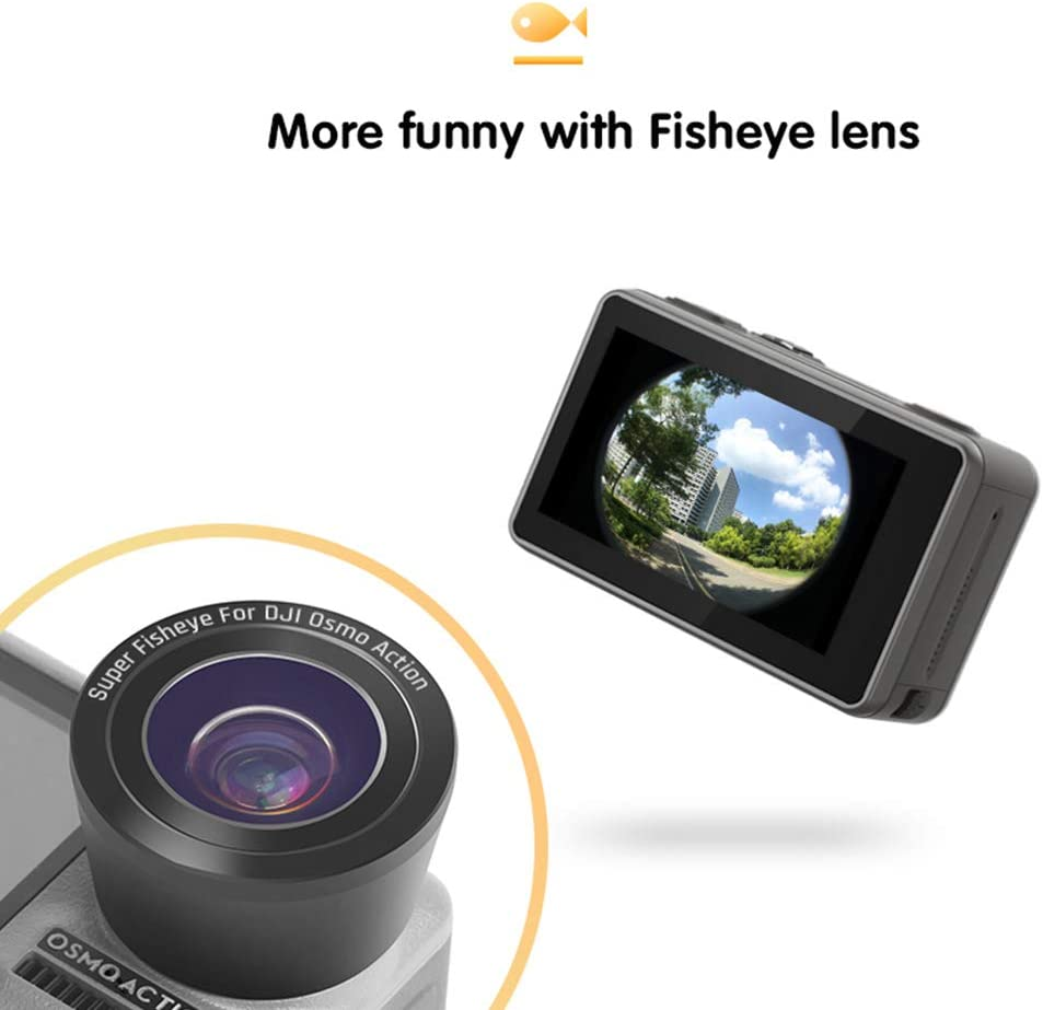 Meijunter Fish Eye Lens for DJI Osmo Action Wide Angle Multi-Layer Lens HD Optical Glass Expansion View Photography Filter
