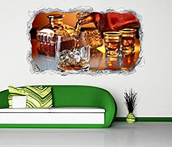 3D Wandtattoo Whisky Alkohol Glas Flasche Fest Wand Aufkleber Durchbruch  Stein Selbstklebend Wandbild Wandsticker 11N161,